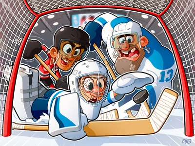 Board Game: Trick Shot packaging box art red blue sport game sport nhl ice hockey hockey game illustration cartoon design character board game