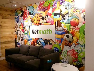 Netmath: Office Wall netmath cartoon mural design illustration decor office wall art wallpaper