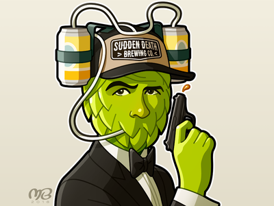 Pils Brosnan green cartoon design illustration character james bond label beer