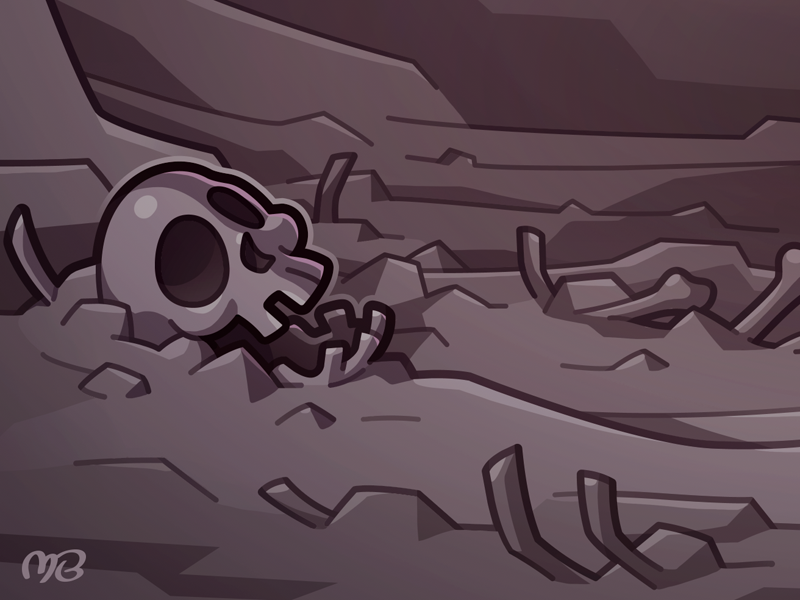 Crawler Queen - Preview vector halloween illustration drawing cavern scenery purple cartoon scary dead death wasteland waste bones skull