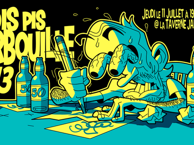 Drink n' Draw Flyer: Bois pis barbouille #13 event poster flyer vector drawing illustration design cartoon character
