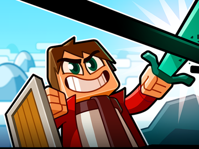 Youtube Channel Banner: Mogi sword banner minecraft vector illustration cartoon design character