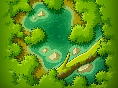 Flipover Frog - Board board game jungle ui game drawing green illustration cartoon design vector lake forest plant map