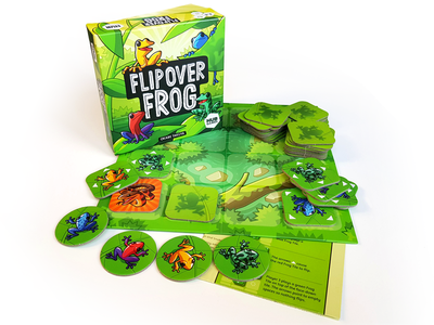 Flipover Frog - Board Game product print box branding vector ui game drawing green illustration cartoon design character frog board game