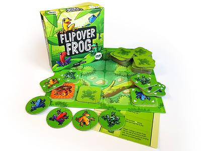 Flipover Frog - Board Game product print box branding vector ui game drawing green illustration cartoon design character frog board game