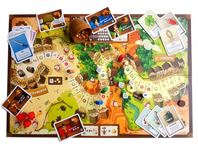 Board Game: Pony Express (Playfield) product western card game illustration cartoon design character cowboy board game