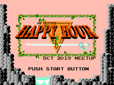 AB Testing Happy Hour Banner - The Legend of Zelda video games banner meetup the legend of zelda nintendo pixel art