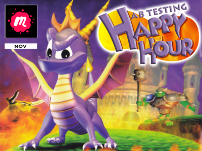 AB Testing Happy Hour Banner - Spyro The Dragon video games dragon playstation meetup banner