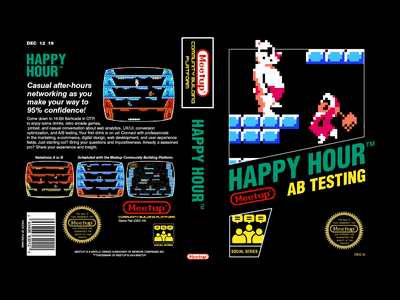 AB Testing Happy Hour Banner - Ice Climbers video game ice climbers pixel art nintendo video games meetup banner
