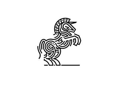 Unicorn revolt neoheraldry unicorn horse line circles rotation fractal centrifugalgraphic limitingconcentration concentration superstrings