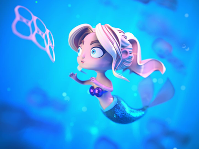 Sirena - tika cartoon kawaii cute climate change sirena mermaid 3d model character design 3d ilustration