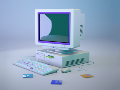 Retro computer design 3d model 3d illustration 3d art