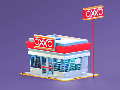 Mexican Mini Market simple oxxo building miniature store isometric cartoon branding animation animated gif c4d 3d model 3d design illustration 3d art