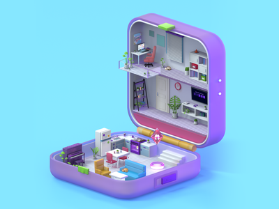 Mini house inspired by Polly Pocket toys model house cute art polly pocket cute 3d illustration