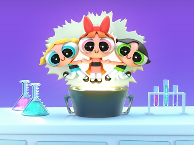 Powerpuff Girls purple girl power girls power girls girl sci-fi science laboratory cartoon network character design cartoon character cartoon powerpuff girls