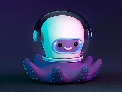Pulpo astronauta 3d art c4d illustration