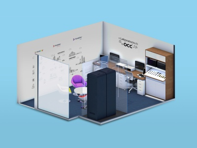 Isometric room illustration c4d 3d art