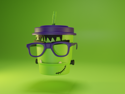 Cup Frankenstein illustration blender design logo vector 3d art brand artwork typography art direction