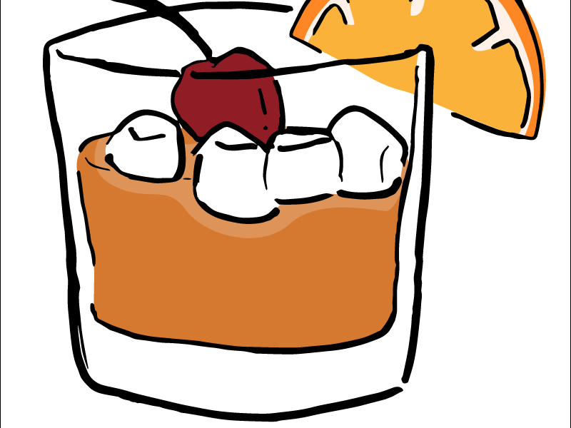 Old-Fashioned Illustration hand-drawn alcohol whiskey mixed drink orange cherry old-fashioned drink garnish