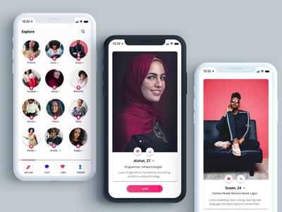 Dating App - Explore screen, User profile screen
