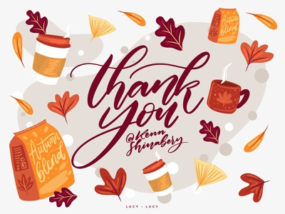 Thank you so much Kenn for inviting me to Dribbble! debutshot debut thankyou warm colors autumn leaves autumn coffee cup coffee flatdesign flat illustration vector indonesian handlettering lettering typography illustration