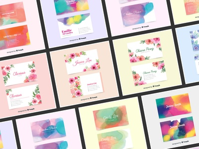 Abstract Watercolor Stains & Floral Business Card