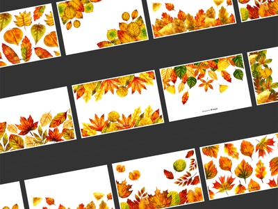 Fall / Autumn leaves Backgrounds in Watercolor