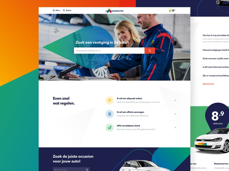 Autovakmeester Live car repair fresh ui car shapes gradients clean website garage