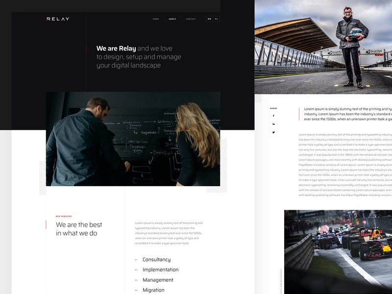 More screens Relay content page landing page tech design relay ui design modern digital content about dark ui clean tech