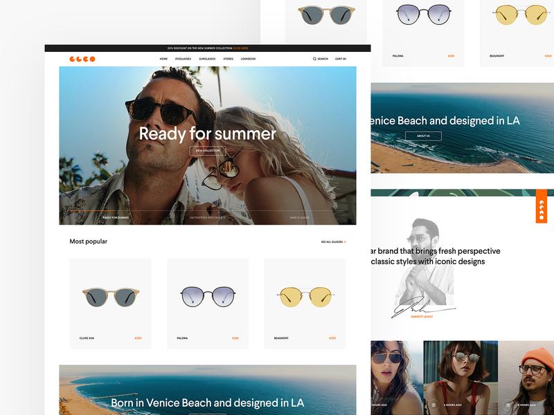 Garrett Leight Design home page design sunglasses series collection summer shop iconic modern orange white ui  ux design clean venice beach webshop glasses opticals