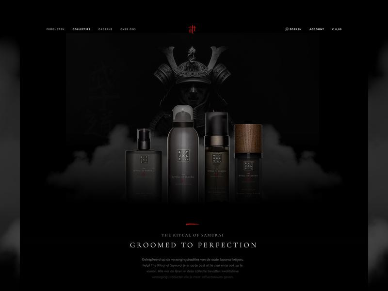 Rituals Header Exploration explore clean men body creme mysterious dark ui smoke uidesign samurai warrior dark rituals header exploration