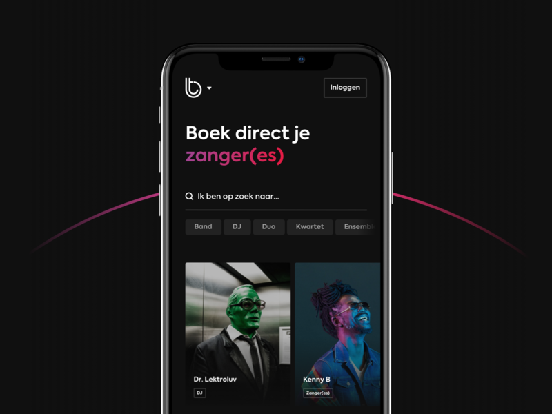 Artist Platform filters tags search gradient visual design music artist clean fresh dark ui dark theme ui design platform design platform