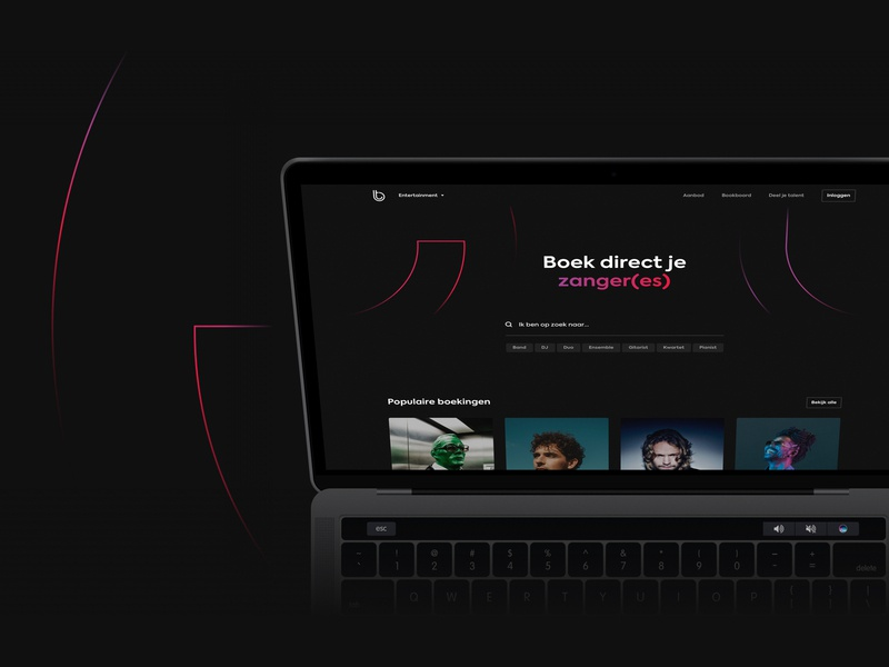 BookThat Platform ui design ui  ux visual design gradient tags search platform design platform filters music dark theme dark ui clean artist