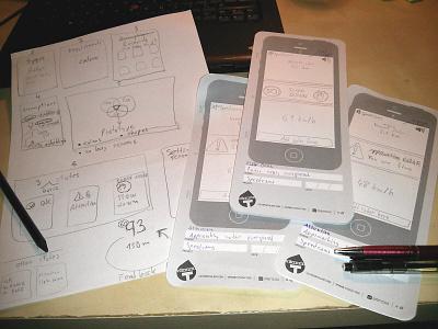 Paper Prototype paper prototype ux speed camera application app brainstorming idea