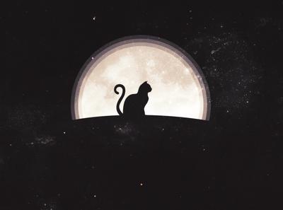 mooncat. vector poster art wallpaper design minimal illustration design
