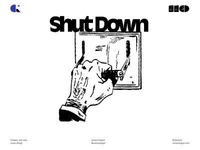 SHUTDOWN grunge rough sampled comic switch government shutdown cleveism daily ui challenge daily post daily poster monochrome dailyposter graphic design graphicdesign contrast flat simple design graphic