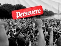 WE WILL PERSEVERE washington new movement progressive cleveism flat contrast texture daily post daily poster political dc revolt revolution brand graphicdesign simple graphic design