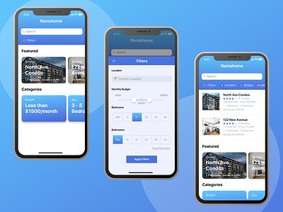 User flow for rental app prototype figma design design challenge ui ux