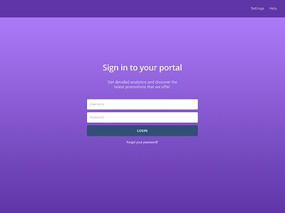 Portal login for an imaginary company dashboard login screen sketch ux ui figma design