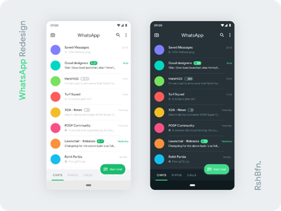 WhatsApp, but better. amoled black rounded new communication text message clean modern white light dark theme rshbfn md2 material app redesign whatsapp