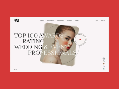 TOP100AWARDS' WEDDING & PHOTOGRAPHERS landing fashion promo concept ukraine portfolio animation ui design web