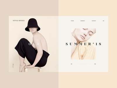 Yuna Style minimalism ux ui free animation concept slider furniture web