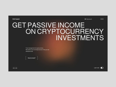 K&G Capital first concept corporate invest onepage design ux ui typography crypto animation web