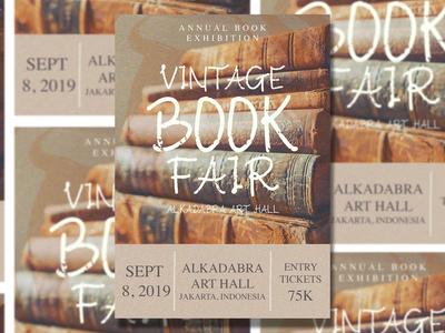 Vintage Book Exhibition Flyer Design
