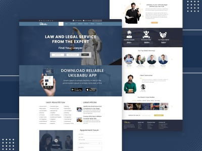 Law firm - Lawyer Hire Web UI design website showcase advocate website attorney website design 2021 trends ukilbabu website ui user interface lawyer website ui ukilbabu ukilbabu ui design