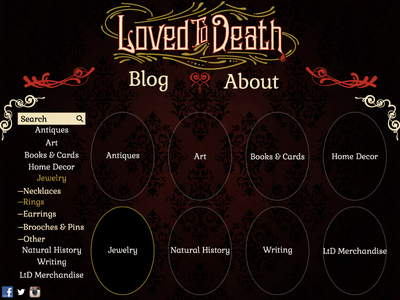 Loved To Death Website Redesign web design ui baroque victorian gothic damask filigree