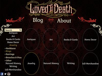 Loved To Death Website Redesign web design ui baroque victorian gothic damask filigree
