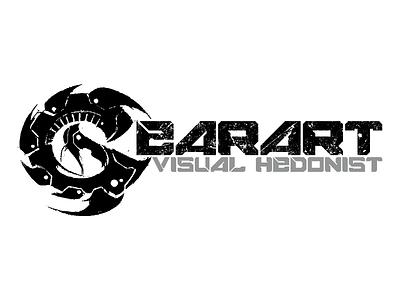 GEARART Logo logo custom typography cyberpunk futuristic grungy textured deadly blades chainsaw monochrome evil