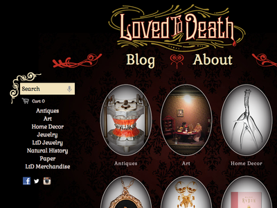Loved To Death web design ui typography ecommerce baroque damask filigree gothic victorian