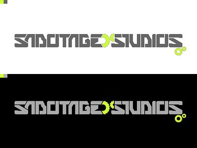 Sabotage Studios Logo custom typography logo branding futuristic industrial minimal 2 color cyberpunk
